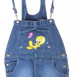 Tweety Bird Womens denim bib overalls size 10